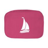 Large Hot Pink Waffle Cosmetic Bag-Sailboat