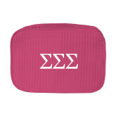 Large Hot Pink Waffle Cosmetic Bag-Greek Letters - One Color