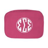 Large Hot Pink Waffle Cosmetic Bag-Monogram in Circle