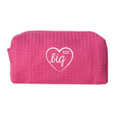 Small Hot Pink Waffle Cosmetic Bag-Big in Heart