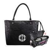 Sophia Checkpoint Friendly Black Compu Tote-Monogram in Circle