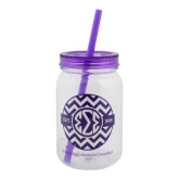 Clear/Purple Mason Jar Tumbler-