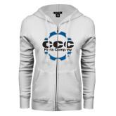 ENZA Ladies White Fleece Full Zip Hoodie-CCC Parts Company