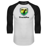 White/Black Raglan Baseball T Shirt-Truck Pro