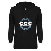 ENZA Ladies Black V Notch Raw Edge Fleece Hoodie-CCC Parts Company