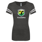 ENZA Ladies Black/White Vintage Football Tee-Truck Pro
