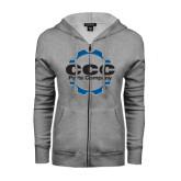 ENZA Ladies Grey Fleece Full Zip Hoodie-CCC Parts Company