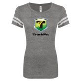 ENZA Ladies Dark Heather/White Vintage Football Tee-Truck Pro