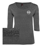 Ladies Charcoal Heather Tri Blend Lace 3/4 Sleeve Tee-CCC Parts Company