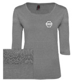 Ladies Grey Heather Tri Blend Lace 3/4 Sleeve Tee-CCC Parts Company