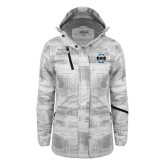 Ladies White Brushstroke Print Insulated Jacket-CCC Parts Company