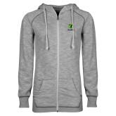ENZA Ladies Grey/Black Marled Full Zip Hoodie-Truck Pro