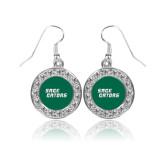 Crystal Studded Round Pendant Silver Dangle Earrings-Sage Gators Wordmark