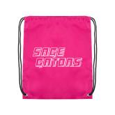 Pink Drawstring Backpack-Sage Gators Wordmark