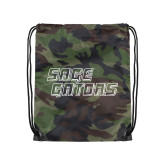 Camo Drawstring Backpack-Sage Gators Wordmark