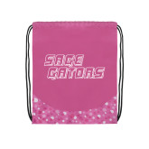 Nylon Pink Bubble Patterned Drawstring Backpack-Sage Gators Wordmark