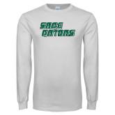 White Long Sleeve T Shirt-Sage Gators Wordmark