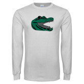 White Long Sleeve T Shirt-Gator Head