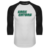 White/Black Raglan Baseball T Shirt-Sage Gators Wordmark