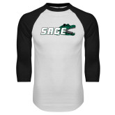 White/Black Raglan Baseball T Shirt-Sage w/Gator Head
