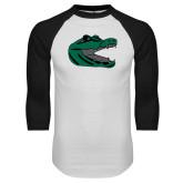 White/Black Raglan Baseball T Shirt-Gator Head
