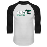 White/Black Raglan Baseball T Shirt-Athletics