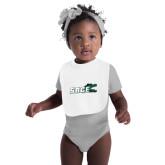 White Baby Bib-Sage w/Gator Head