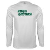 Performance White Longsleeve Shirt-Sage Gators Wordmark