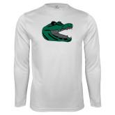 Performance White Longsleeve Shirt-Gator Head