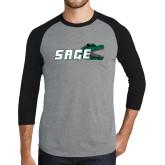 Grey/Black Tri Blend Baseball Raglan-Sage w/Gator Head