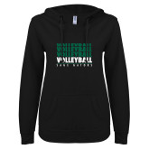ENZA Ladies Black V Notch Raw Edge Fleece Hoodie-Volleyball Repeating