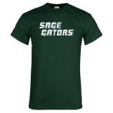 Dark Green T Shirt-Sage Gators Wordmark