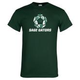 Dark Green T Shirt-Distressed Soccer Ball