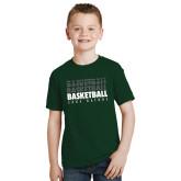 Youth Dark Green T Shirt-Basketball Repeating