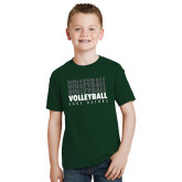 Youth Dark Green T Shirt-Volleyball Repeating
