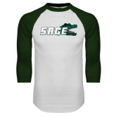 White/Dark Green Raglan Baseball T Shirt-Sage w/Gator Head