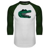 White/Dark Green Raglan Baseball T Shirt-Gator Head