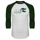 White/Dark Green Raglan Baseball T Shirt-Athletics