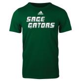 Adidas Dark Green Logo T Shirt-Sage Gators Wordmark