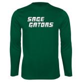 Performance Dark Green Longsleeve Shirt-Sage Gators Wordmark