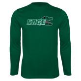 Performance Dark Green Longsleeve Shirt-Sage w/Gator Head