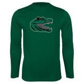 Performance Dark Green Longsleeve Shirt-Gator Head