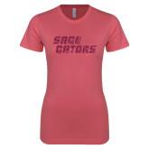 Next Level Ladies SoftStyle Junior Fitted Pink Tee-Sage Gators Wordmark Hot Pink Glitter