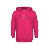 Youth Raspberry Fleece Hoodie-Sage Gators Wordmark  Foil