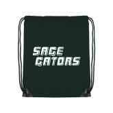 Dark Green Drawstring Backpack-Sage Gators Wordmark