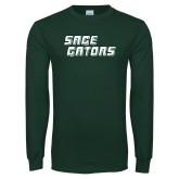 Dark Green Long Sleeve T Shirt-Sage Gators Wordmark