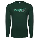 Dark Green Long Sleeve T Shirt-Sage w/Gator Head