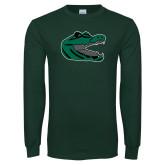 Dark Green Long Sleeve T Shirt-Gator Head