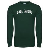 Dark Green Long Sleeve T Shirt-Sage Gators Arched