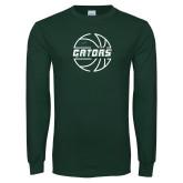 Dark Green Long Sleeve T Shirt-Basketball in Ball